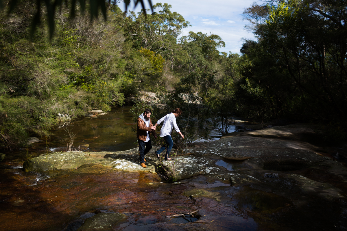 006_just engaged couple explore somersby falls with prewedding photographer