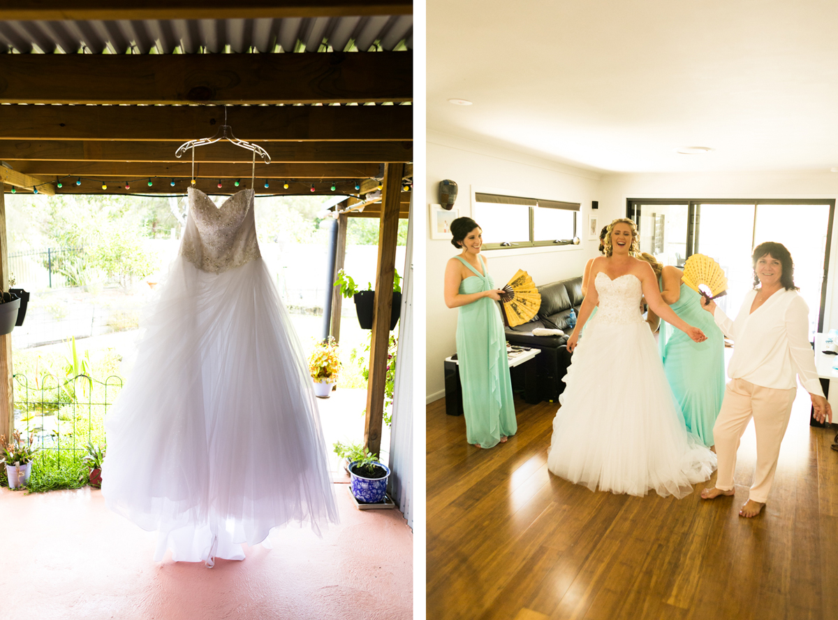 Dual shot of the wedding dress hanging from the ceiling of a wooden verandah roof beam and the bridesmaids lacing up the brides dress while holding fans and laughing Caves Beach wedding photography