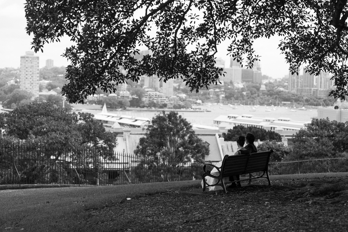 Black and white shot from behind of the bride and groom sitting on a park bench overlooking Sydney Harbour Sydney wedding photographer