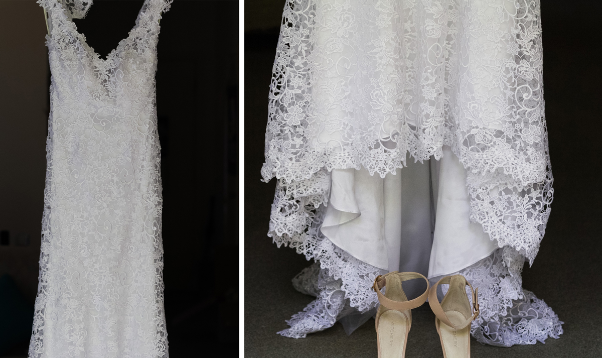 Dual shot of the bride's white lace wedding dress and ivory high heels Tocal Homestead wedding photographer