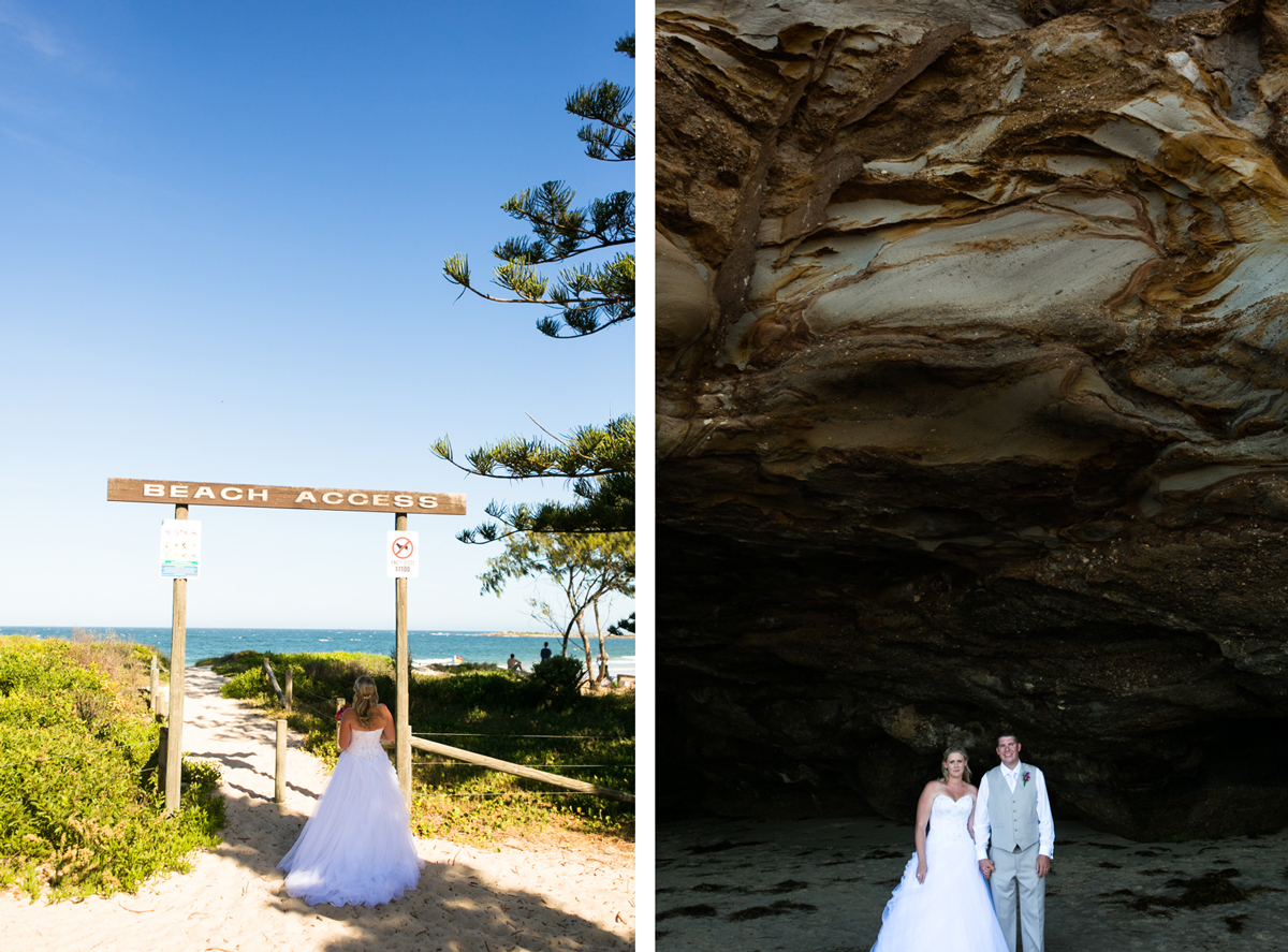 Dual shot of the bride walking on to the beach under a wooden beach access sign with beautiful blue sky above her, and the bride and groom standing hand in hand in a natural beach cave Caves Beach wedding photography