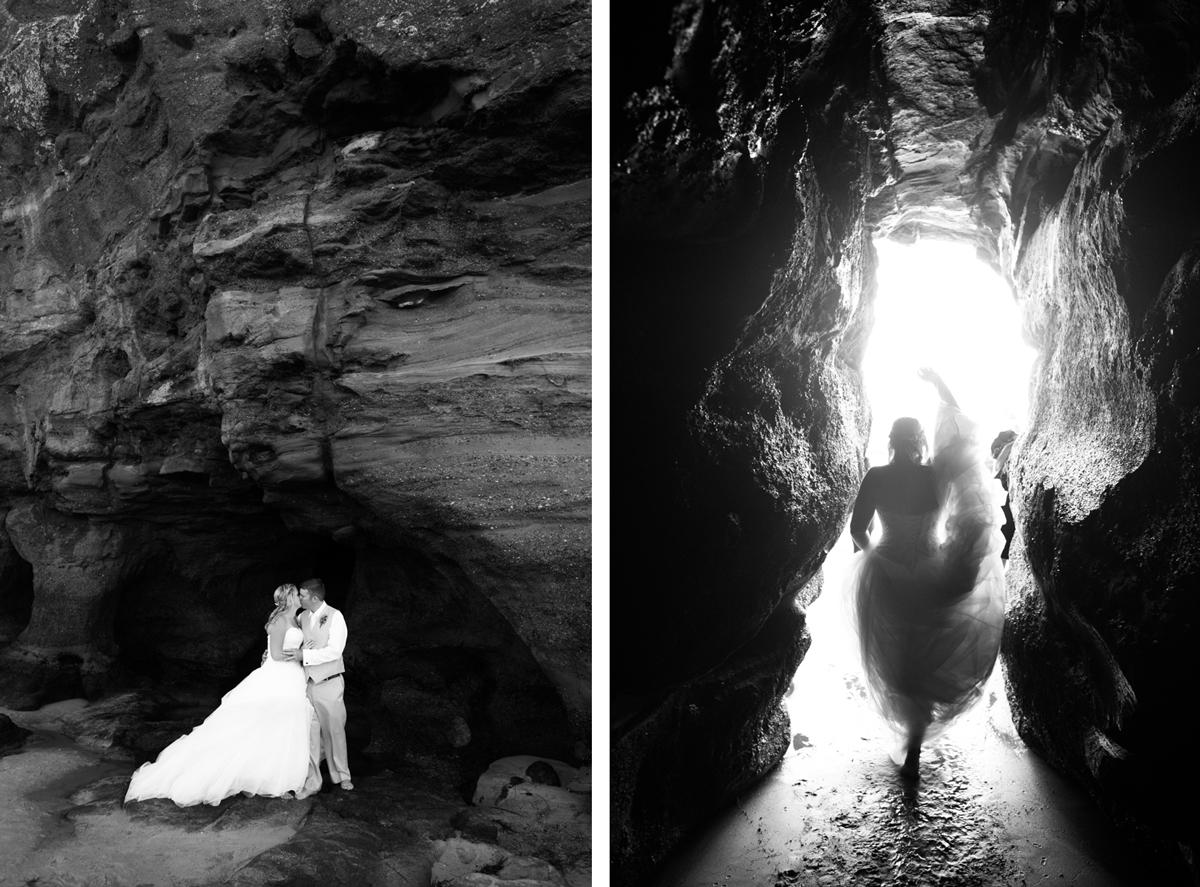 Bacl and white dual shots of the bride and groom kissing standing in a natural rock beach cave and the bride walking through a narrow walkway in the cave holding up her wedding dress with light streaming from behind her Caves Beach wedding photography