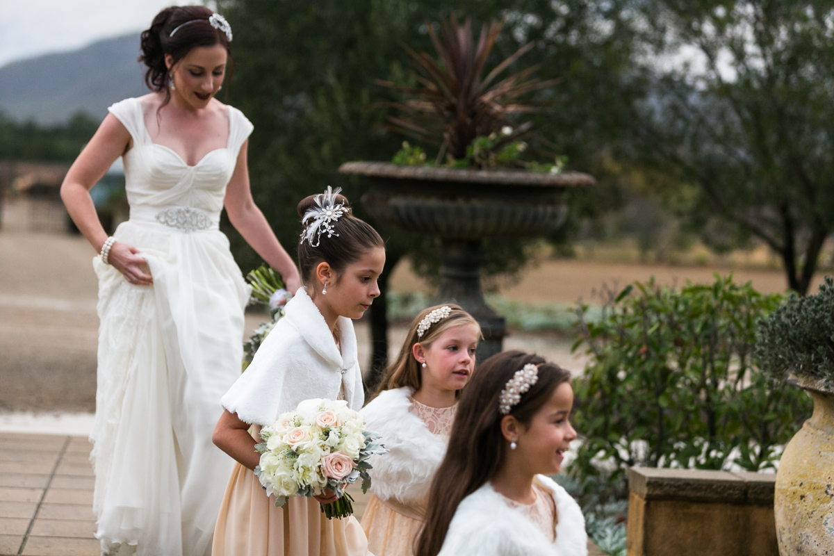 14_Candid wedding photography with DIY bride and flower girls at Margan Wines
