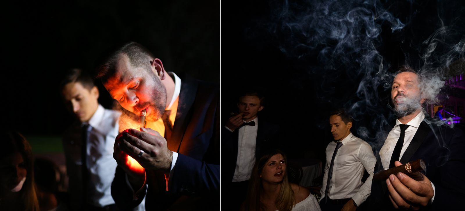 20_groom-smokes-cigar-at-wedding-reception-captured-by-hunter-valley-wedding-photographer