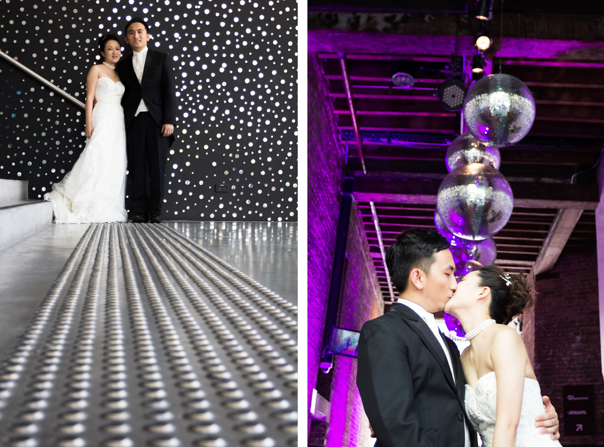 Dual shot of the bride and groom shot from low standing in front of a black wall covered in small round mirrors with the concrete ground in front of them, and the bride and groom kissing under hanging disco balls lit with a purple blue light Sydney wedding photographer