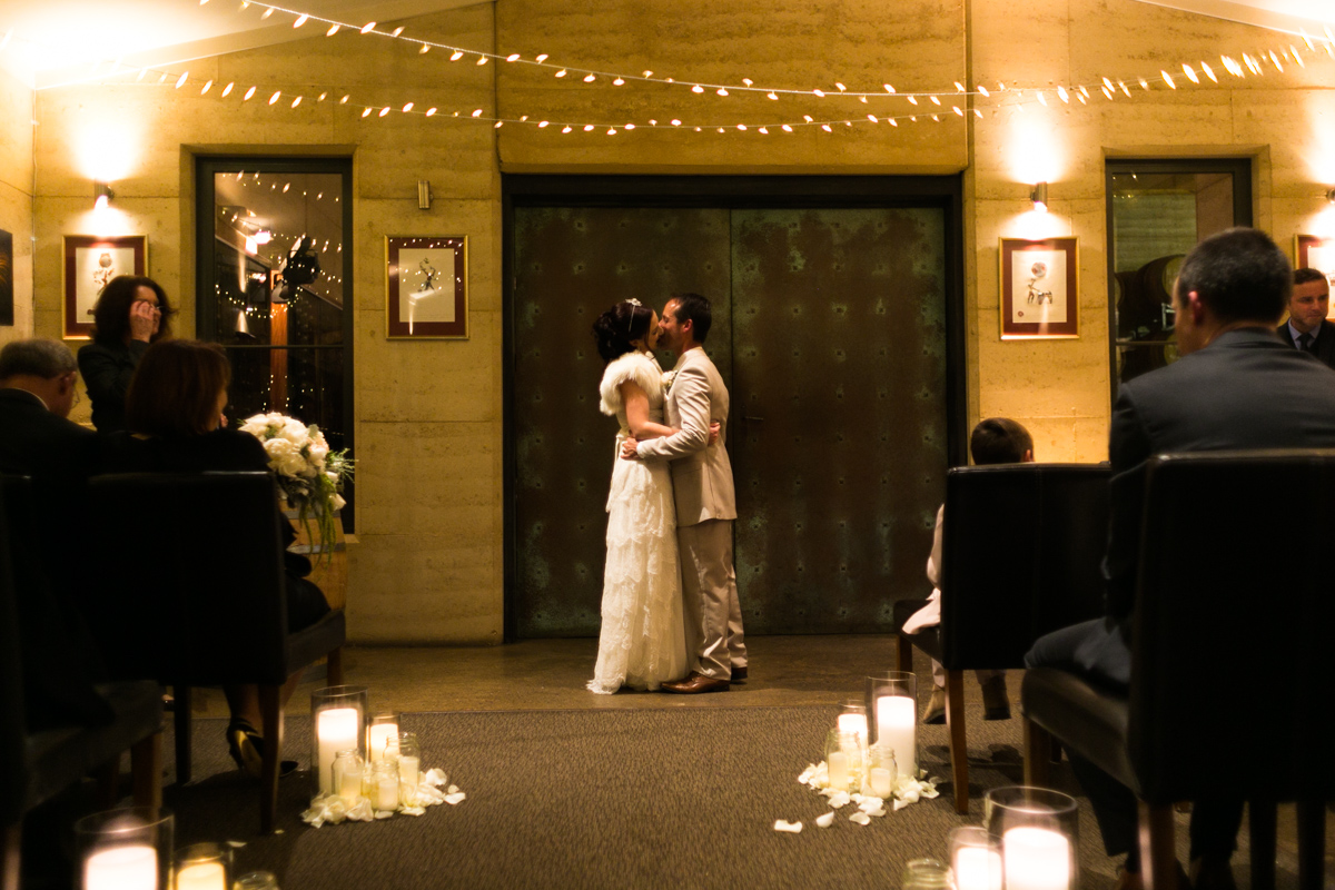 30-First-Kiss-as-Husband-and-Wife-Wedding-Photography-in-the-Hunter-Vally