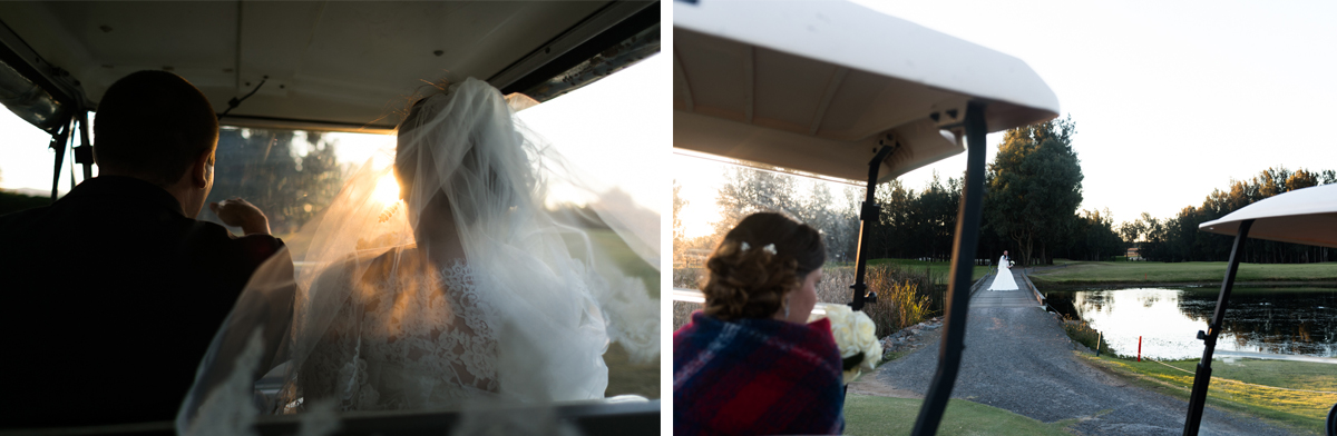 39_Bridal party in golf buggies at crowne plaza pokolbin in golden light