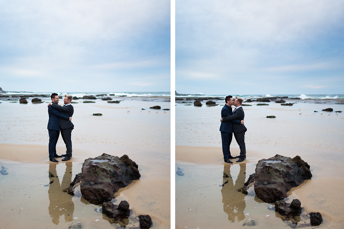 Handsome Same Sex couple at Susan Gilmore Beach captured by Gay Friendly photographer in Newcastle